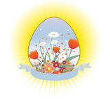 Loral background decorated with Easter Egg shape Royalty Free Stock Image