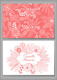Loral card design, flowers and leaf doodle elements. Stock Image