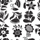 Loral seamless pattern. Background with abstract flowers and lea. Floral seamless pattern. Background with abstract flowers and leaves.Vector illustration in Vector Illustration