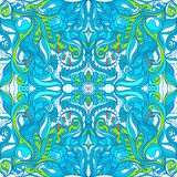 Loral Vector Colorful Ornate Seamless Pattern. Silk Scarf Stock Photos