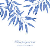 Loral watercolor texture pattern with blue foliage Royalty Free Stock Images