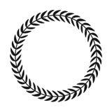 Lorbeer Wreath Übergeben Sie gezogenem Vektor runden Rahmen für Einladungen, Grußkarten, Zitate, Logos, Poster und mehr Vektor stock abbildung