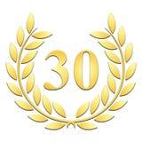 Lorbeerkranz goldener Lorbeerkranz für 30. Jahrestag auf einem weißen backgroundanniversary auf einem weißen Hintergrund vektor abbildung