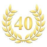 Lorbeerkranz goldener Lorbeerkranz für 40. Jahrestag auf einem weißen backgroundanniversary auf einem weißen Hintergrund stock abbildung