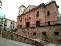 Main facade of the Spanish Santiago Apóstol Church stock images