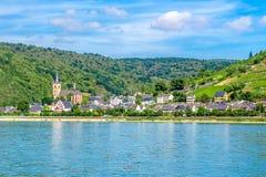 Lorch上午莱茵,莱茵高地区Taunus克瑞斯的一个小镇在Ger 库存照片