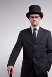 Lord black nerd with a top hat Royalty Free Stock Photography