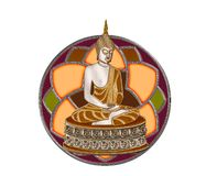 Lord Buddha. Statue of Lord Buddha on a flower design background Royalty Free Stock Images