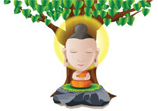 lord of Buddha become enlightened under tree in cartoon version stock illustration