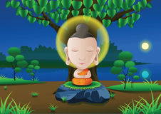 Lord of Buddha become enlightened under tree on Full moon night. Near river in India in cartoon version, illustration Royalty Free Stock Image