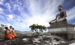 Lord Buddha Day or Vesak Day, Buddhist monk prayin Stock Photo