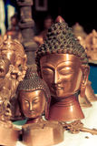Lord buddha metallic sculpture, vintage Stock Photos