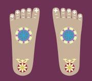 The Lord Buddha's Footprints. Buddha's Footprints with buddhist symbols: Dharma Wheel, lotus, Three Jewels Stock Photos