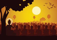 Lord of Buddha sermon dharma to crowd of monk. Silhouette style Stock Image
