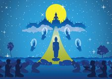 Lord of buddha walk down from heaven that for visit and teach hi royalty free illustration