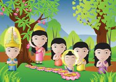 Buddha Born. Lord of Buddha was born under tree in cartoon version,used well for important days of Buddhism vector illustration Royalty Free Stock Photo