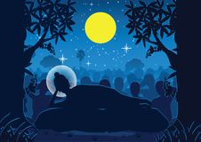Lord of Buddha was dead under tree ,used well for important days stock illustration