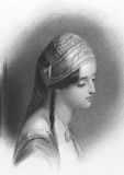 Lord Byron's Maid of Athens. On engraving from the 1800s. Theresa Makri was a Greek girl, Lord Byron fell inlove and wrote a poem about. Engraved by W.Finden Stock Image