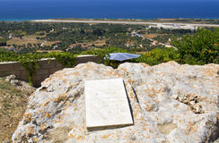 Lord Byron's memorial rock in Greece royalty free stock photos