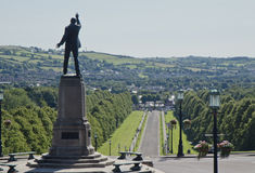Lord Carson at Stormont, Northern Ireland. Northern Ireland's Parliament Building with iconic statue of Lord Edward Carson overlooking the famous 1 mile long Stock Image
