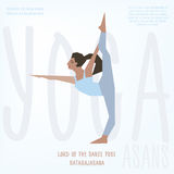 Lord of Dance (Natarajasana) asana. Vector illustrated poster template with girl doing yoga exercises Royalty Free Stock Photo