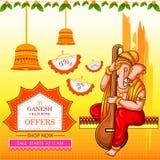 Lord Ganapati för lycklig bakgrund för advetisement för befordran för erbjudande för försäljning för Ganesh Chaturthi festivalsho vektor illustrationer