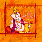 Lord Ganapati for Happy Ganesh Chaturthi festival background. Vector illustration of Lord Ganapati for Happy Ganesh Chaturthi festival background with text in Stock Illustration