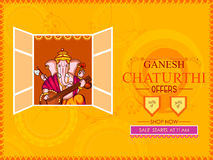 Lord Ganapati for Happy Ganesh Chaturthi festival shopping sale offer promotion advetisement background. Vector illustration of Lord Ganapati for Happy Ganesh Stock Images