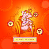 Lord Ganapati for Happy Ganesh Chaturthi festival shopping sale offer promotion advetisement background. Vector illustration of Lord Ganapati for Happy Ganesh Stock Photos