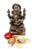 Lord ganesh. With gold coins and holy thread Royalty Free Stock Images