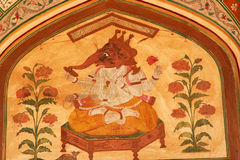 Lord Ganesh Hindu God Mural Jaipur India stock afbeeldingen