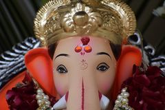 Lord Ganesh with his crown during Ganesh Puja celebration stock photography