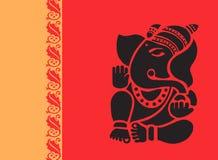 Lord Ganesh i röd radiant Arkivfoton