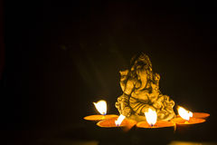 Lord ganesh in lamp light Royalty Free Stock Images