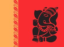 Lord Ganesh in red radiant Stock Photos