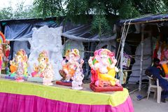 Lord ganesh. Sheoganj, india - August 27 2018, indian Hindu Deities with Ganesh Sculptures Architectural detail stock photo