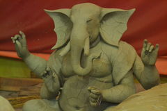 Lord Ganesh, unfinished Statue, with Cracks, Kumbh Mela, India 2013. Intricate work in progress, of a Statue of the popular God, Lord Ganesha, showing Cracks, at Royalty Free Stock Images