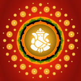 Lord Ganesha. Indian God Lord Ganesha On Exploding Lotus Background Stock Image