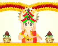 Lord Ganesha Celebration Background With Floral Stock Images