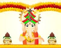 Lord Ganesha Celebration Background With floreale Immagini Stock