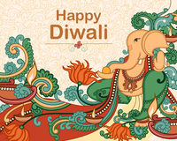 Lord Ganesha for Diwali prayer. Vector design of Lord Ganesha for Diwali prayer in Indian art style royalty free illustration