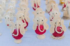 Lord Ganesha Dolls, trabalho de arte, artesanatos indianos justos em Kolkata Imagens de Stock Royalty Free