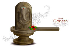Lord Ganesha on embossed in Shivling. Easy to edit vector illustration of Lord Ganesha on embossed in Shivling vector illustration