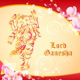 Lord Ganesha on floral backdrop Royalty Free Stock Image