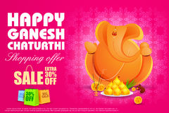 Lord Ganesha for Ganesh Chaturthi Sale offer Royalty Free Stock Images