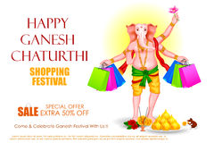 Lord Ganesha for Ganesh Chaturthi Sale offer Stock Image