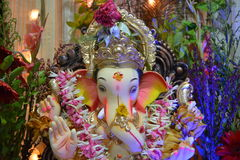 Lord Ganesha at the Ganeshotsava festival in Mumbai, India. A portrait of a Ganesha idol at a Ganeshotsava festival celebration in Mumbai, India in Sep 2016 Stock Image