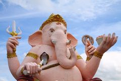 Lord Ganesha - God of Good Luck. Big pink statue of Ganesha - the Elephant headed god of luck and prosperity Royalty Free Stock Images