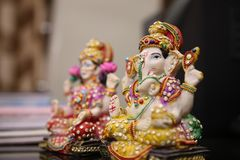 Lord Ganesha and Goddess Lakshmi idol. Lord Ganesha and Goddess Lakshmi are worshipped during Diwali festival. Diwali or Deepawali is a festival of light and Royalty Free Stock Image