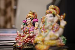 Lord Ganesha and Goddess Lakshmi idol. Lord Ganesha and Goddess Lakshmi are worshipped during Diwali festival. Diwali or Deepawali is a festival of light and Stock Images
